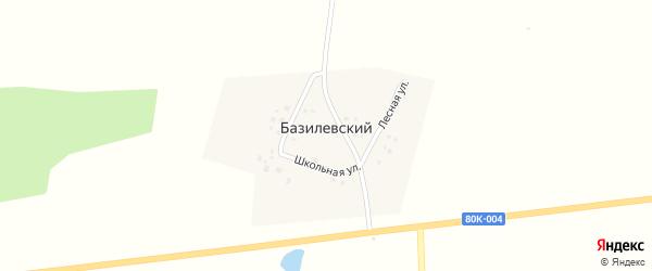 Школьная улица на карте деревни Базилевского с номерами домов