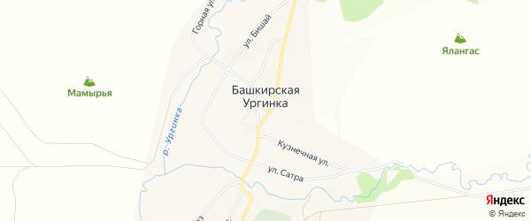 Карта деревни Башкирской Ургинки в Башкортостане с улицами и номерами домов