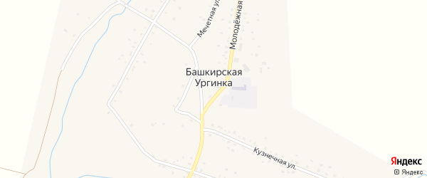 Улица Мечети на карте деревни Башкирской Ургинки с номерами домов