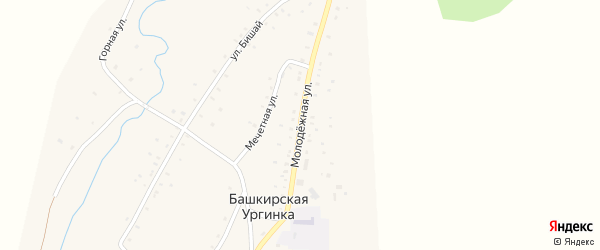 Молодежная улица на карте деревни Башкирской Ургинки с номерами домов