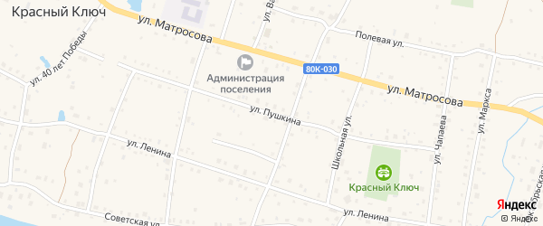 Улица Пушкина на карте села Красного Ключа с номерами домов
