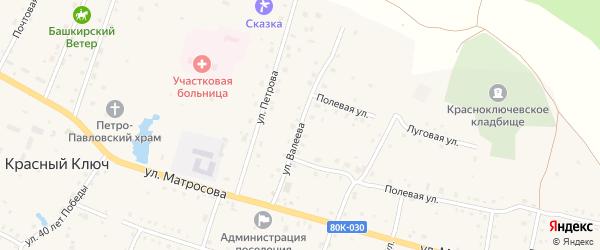 Улица Валеева на карте села Красного Ключа с номерами домов