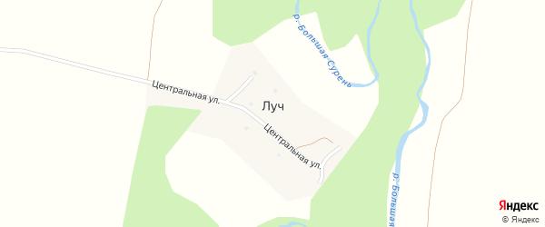 Центральная улица на карте деревни Луча с номерами домов