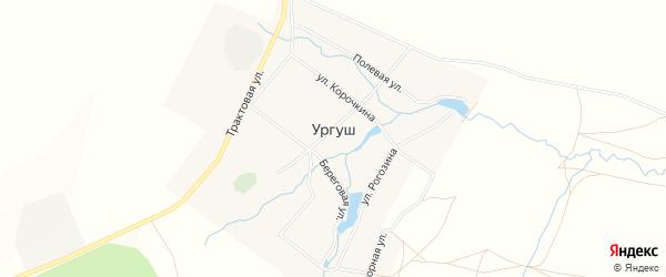 Карта села Ургуша в Башкортостане с улицами и номерами домов