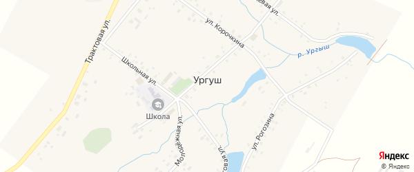 Центральная улица на карте села Ургуша с номерами домов