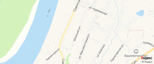 Школьная улица на карте села Красной Горки с номерами домов