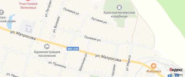 Полевая улица на карте села Красного Ключа с номерами домов