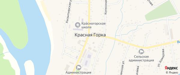 Зелёная улица на карте села Красной Горки с номерами домов