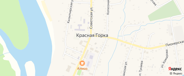 Российская улица на карте села Красной Горки с номерами домов