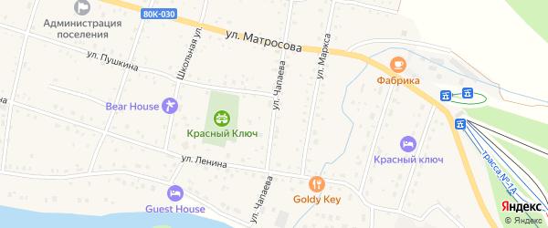 Улица Чапаева на карте села Красного Ключа с номерами домов