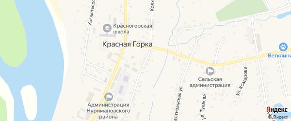 Колхозная улица на карте села Красной Горки с номерами домов