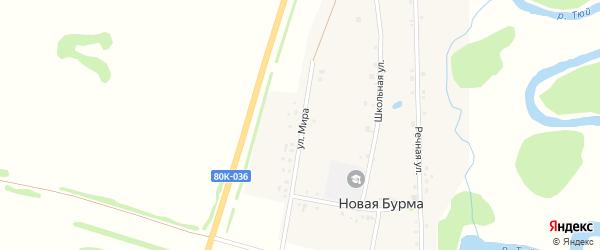 Улица Мира на карте села Новой Бурмы с номерами домов