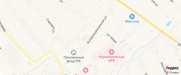 Интернациональная улица на карте села Красной Горки с номерами домов