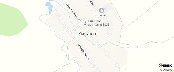 Школьная улица на карте деревни Кысынды с номерами домов