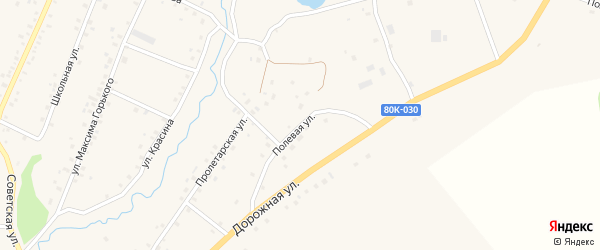 Полевая улица на карте села Красной Горки с номерами домов