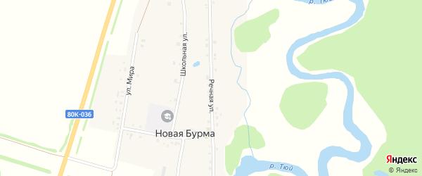 Речная улица на карте села Новой Бурмы с номерами домов