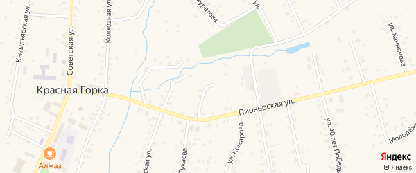 Улица Космонавтов на карте села Красной Горки с номерами домов