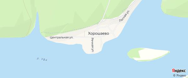 Карта деревни Хорошаево в Башкортостане с улицами и номерами домов
