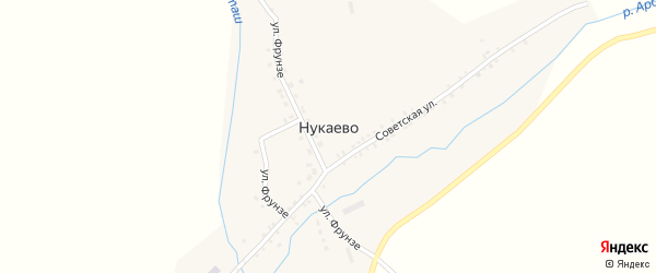 Улица Фрунзе на карте села Нукаево с номерами домов