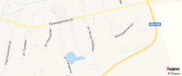 Улица 40 лет Победы на карте села Красной Горки с номерами домов