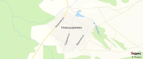 Карта деревни Новошареево в Башкортостане с улицами и номерами домов