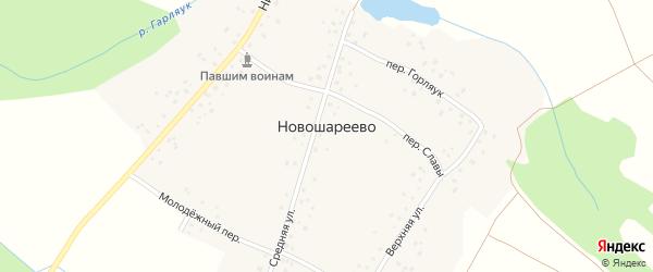 Средняя улица на карте деревни Новошареево с номерами домов