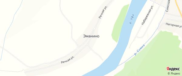Карта деревни Эманино в Башкортостане с улицами и номерами домов
