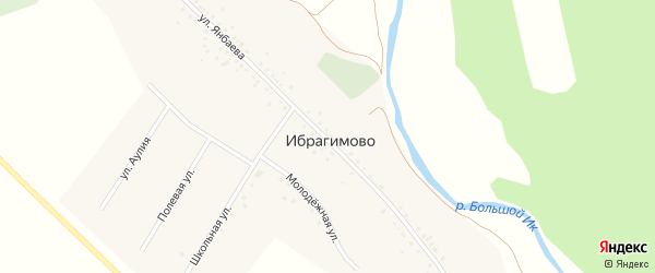 Улица Ш.Янбаева на карте деревни Ибрагимово с номерами домов