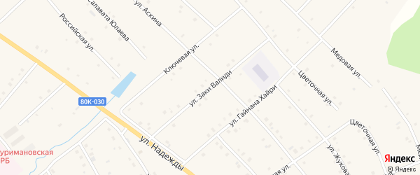 Улица Заки Валиди на карте села Красной Горки с номерами домов
