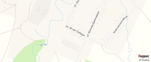 Улица 30 лет Победы на карте села Саитбабы с номерами домов
