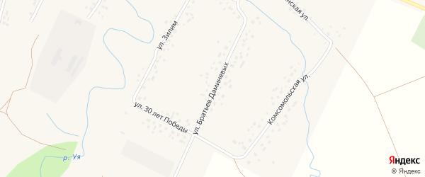 Улица Братьев Даминевых на карте села Саитбабы с номерами домов