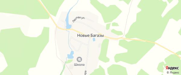Карта деревни Новые Багазы в Башкортостане с улицами и номерами домов