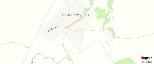 Улица Юнай на карте деревни Нижнего Муйнака с номерами домов