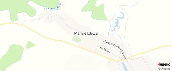 Карта деревни Малые Шиды в Башкортостане с улицами и номерами домов