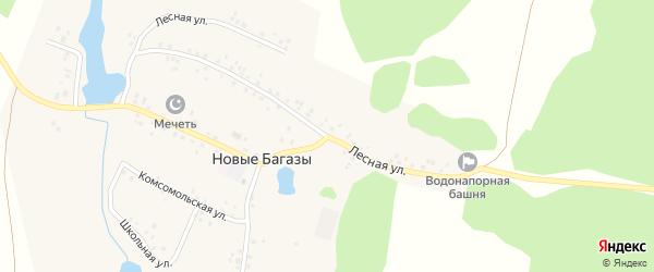 Лесная улица на карте деревни Новые Багазы с номерами домов