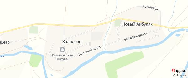 Карта деревни Халилово в Башкортостане с улицами и номерами домов