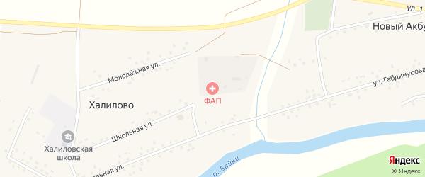 Школьная улица на карте деревни Халилово с номерами домов