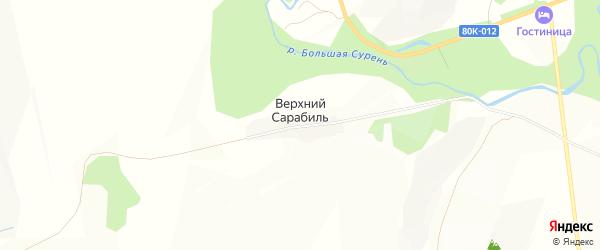 Карта деревни Верхнего Сарабиля в Башкортостане с улицами и номерами домов