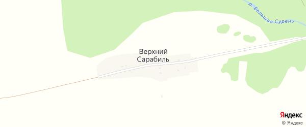 Центральная улица на карте деревни Верхнего Сарабиля с номерами домов