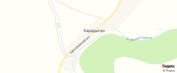 Центральная улица на карте деревни Карадыгана с номерами домов