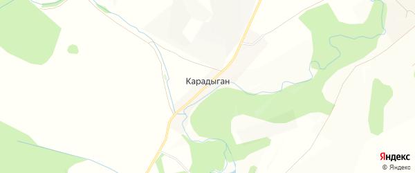 Карта деревни Карадыгана в Башкортостане с улицами и номерами домов