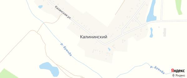 Запрудная улица на карте деревни Калининского с номерами домов