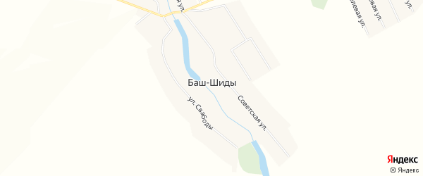 Карта деревни Баш-Шиды в Башкортостане с улицами и номерами домов