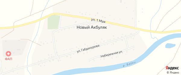 Набережная улица на карте деревни Нового Акбуляка с номерами домов