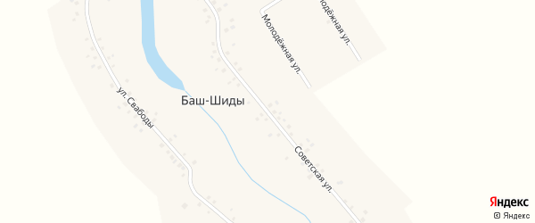 Советская улица на карте деревни Баш-Шиды с номерами домов