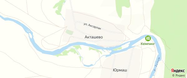 Карта деревни Акташево в Башкортостане с улицами и номерами домов