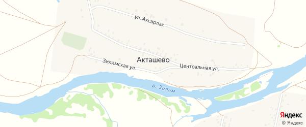 Зилимская улица на карте деревни Акташево с номерами домов