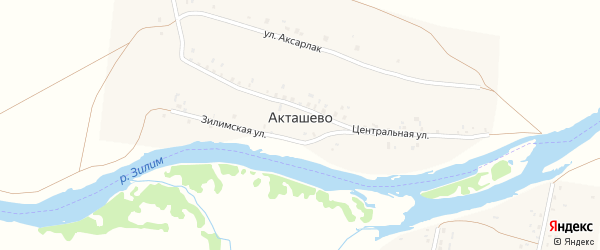 Улица Аксарлак на карте деревни Акташево с номерами домов
