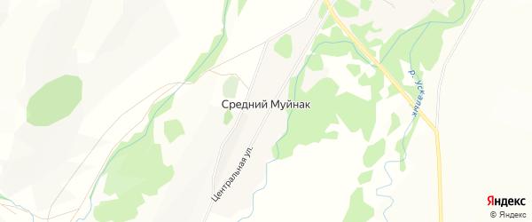 Карта деревни Среднего Муйнака в Башкортостане с улицами и номерами домов