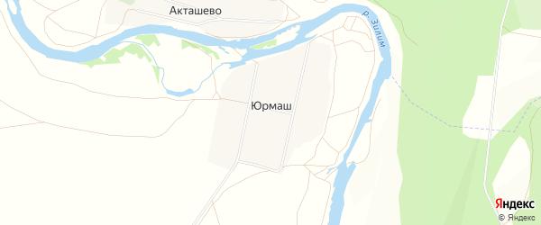 Карта деревни Юрмаша в Башкортостане с улицами и номерами домов